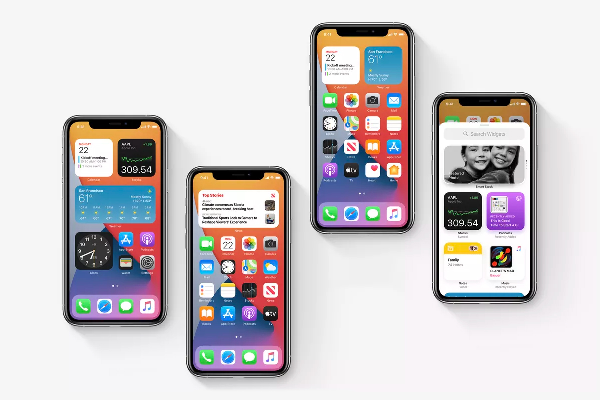 four iphones with ios14 widgets and apps